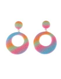 Fashion Color Circle Geometric Glitter Gradient Alloy Earrings