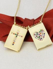 Fashion Gilded Love + Cross Square Love Cross Pendant Necklace