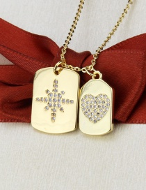 Fashion Gilded Heart + Snowflake Square Snowflake Love Heart Gold-plated Pendant Necklace