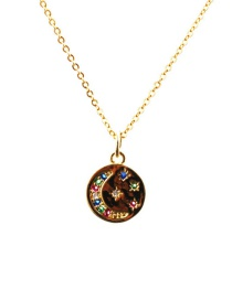 Fashion Moon 4o Sub-chain Necklace Star And Moon Pendant Necklace In Copper And Gold Plated With Diamonds