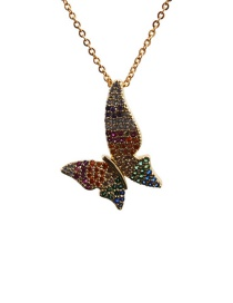 Fashion Butterfly 3o Sub Chain Gold Color Micro Zircon Butterfly Pendant Necklace