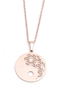 Fashion Stainless Steel Chain Rose Gold Color Gossip 1 Stainless Steel Chain Hollow Geometric Necklace