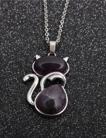 Fashion Amethyst Cat Stainless Steel Cat Pendant Necklace