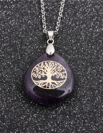 Fashion Amethyst Geometric Stainless Steel Tree Of Life Drop Pendant Necklace