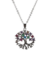 Fashion Tree Of Life 2o Sub-chain White Gold Color Micro-inlaid Zircon Tree Of Life Round Hollow Necklace