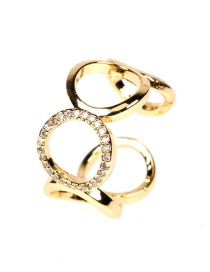 Fashion Gold Color Wide Mouth Diamond Round Figure 8 Open Ring