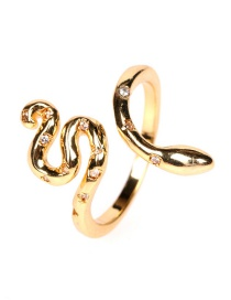 Fashion Gold Color Micro Inlaid Zircon Winding Serpentine Open Ring