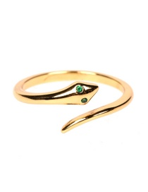 Fashion Gold Color Micro-set Zircon Snake-shaped Open Ring