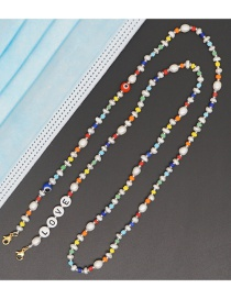 Fashion Color Mixing Rice Beads Natural Freshwater Pearl Letters Skid Glasses Chain