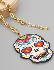Fashion Color Mixing Skull Head Stainless Steel Pendant Necklace