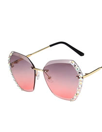 Fashion Top Purple Red Bottom White Diamond-studded Uv-resistant Alloy Resin Sunglasses