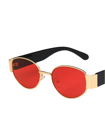 Fashion Gold Color Frame Red Film Oval Small Frame Alloy Resin Sunglasses