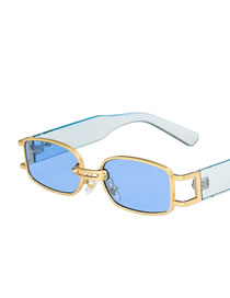 Fashion Gold Color Frame Blue Film (with Words) Square Alloy Wide Temple Sunglasses