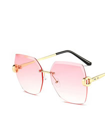 Fashion Asymptotic Powder Frameless Trimmed Metal Resin Sunglasses