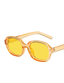 Fashion Transparent Yellow Frame Yellow Film Oval Resin Mens Sunglasses