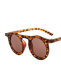 Fashion Leopard Print Round Resin Sunglasses