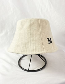 Fashion Off-white Knitted Letter Embroidery Solid Color Fisherman Hat