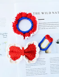 Fashion Red And Blue Woolen Knitted Contrast Color Bow Hair Rope Hairpin Set