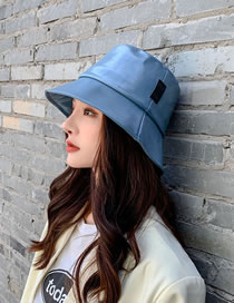 Fashion Blue Pu Leather Solid Color Stitching Fisherman Hat