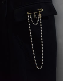 Fashion Gold Color Pentagram Letter Pearl Chain Brooch