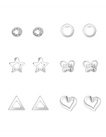 Fashion Silver Color Diamond Butterfly Love Geometric Hollow Earring Set