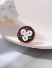 Fashion Black And White Flower Dripping Alloy Brooch