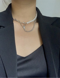 Fashion Silver Color Pearl Stitching Circle Tassel Alloy Necklace