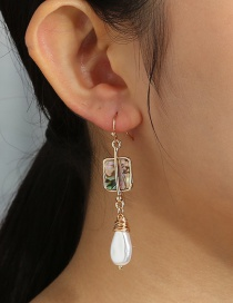 Fashion Golden Color Tassel Natural Abalone Shell Geometric Earrings