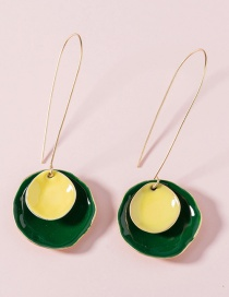 Fashion Yellow+green Paint Round Alloy Line Earrings