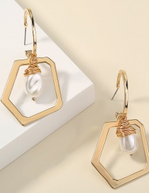 Fashion Golden Color Natural Freshwater Pearl Geometric Alloy Earrings