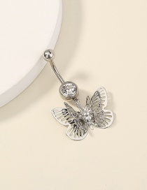 Fashion Silver Color Diamond Multi-layer Butterfly Stainless Steel Belly Button Nail
