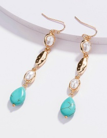 Fashion Golden Color Turquoise Geometric Alloy Earrings