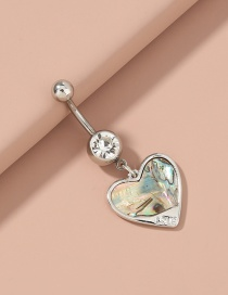 Fashion Silver Color Natural Abalone Shell Heart Shaped Stainless Steel Belly Button Nail