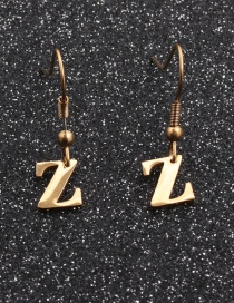 Fashion Gold Coloren Z Stainless Steel Letter Earrings
