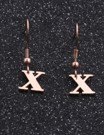 Fashion Rose Gold Color X Stainless Steel Letter Earrings