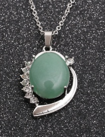 Fashion Green Aventurine Oval Pendant Stainless Steel Geometric Pendant Necklace