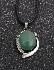Fashion Wax Rope Green Aventurine Oval Pendant Wax Rope Green Aventurine Pendant Geometric Diamond Necklace