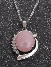 Fashion Pink Crystal Oval Ball Pendant Geometric Stainless Steel Pink Spar Pendant Necklace