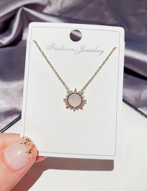 Fashion Alloy Plated Micro-inlaid Zircon Natural Shell Small Sun Necklace