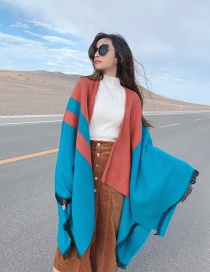 Fashion Water Blue Thick Knitted Cashmere Slit Long Shawl