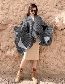 Fashion Gray Imitation Cashmere Plaid Thick Warm Cloak Shawl