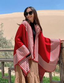 Fashion Scarlet Thick Knitted Cashmere Stripe Slit Long Shawl