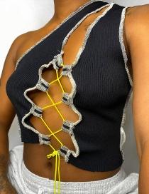 Fashion Black One-shoulder Strap Cutout Slim T-shirt