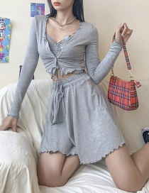Fashion Gray Camisole High Waist Skirt Suit