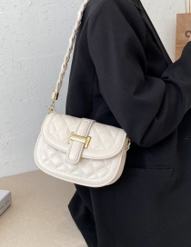 Fashion Creamy-white Lock Braided Rope Diamond Shoulder Messenger Bag