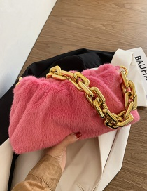 Fashion Pink Furry Thick Chain Pleated Shoulder Bag