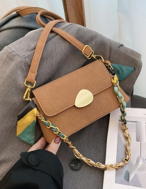 Fashion Brown Frosted Chain Lock Shoulder Crossbody Bag
