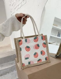 Fashion Strawberry Linen Printed Fruit Tote