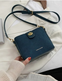 Fashion Blue Frosted Buckle And Gilded Letters Shoulder Messenger Bag