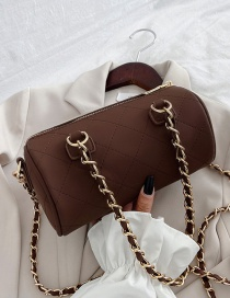Fashion Coffee Color Chain Rhomboid Embroidered Thread Shoulder Messenger Bag